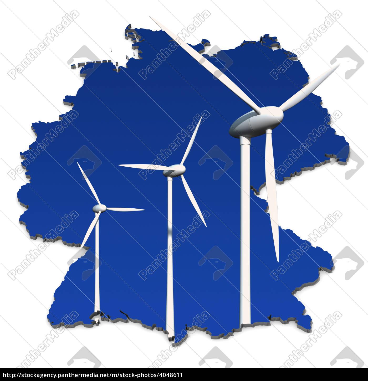 windkraftrad, vor, blau, , deutschlandkarte - 4048611
