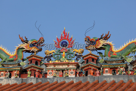 dragon on the temple roof china