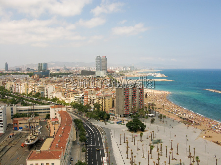 beach and cityscape of barcelona