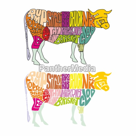 cow made from colored words