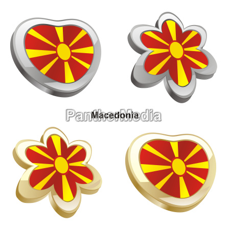 mazedonien flagge herz und bluetenform