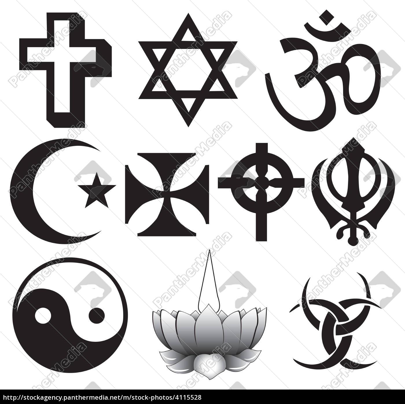 verschiedene religionen symbole - Lizenzfreies Foto