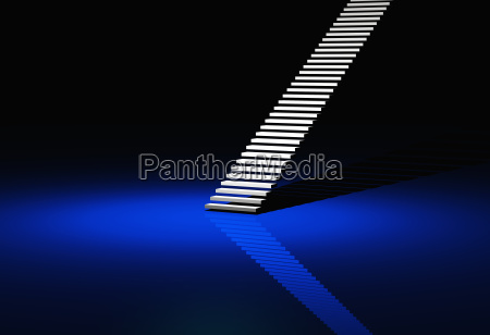 white modern stairs blue background