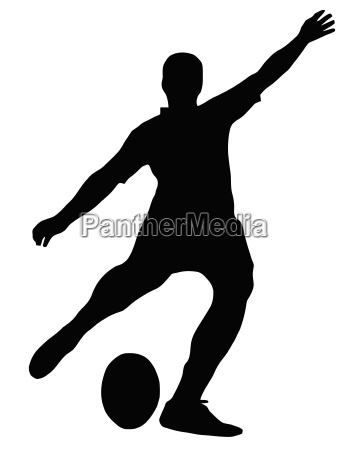 sport silhouette rugby football kicker