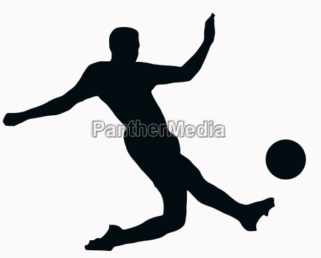 sport silhouette soccer player kicking