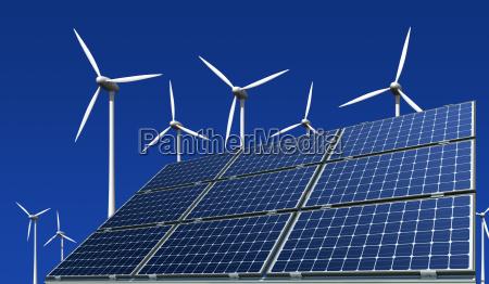 monokristalline solarmodule und windkraftraeder