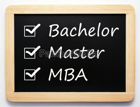 bachelor master mba career concept