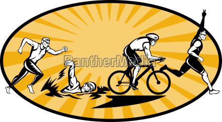 triathlon athleten schwimmen fahrrad und laufwettbewerb
