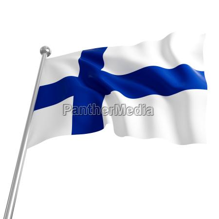 3d fahne von finnland auf weissen