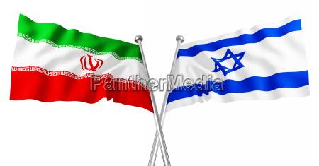 3d flagge von israel und iran