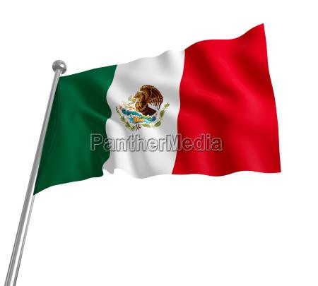 3d mexikanische flagge auf weissem hintergrund