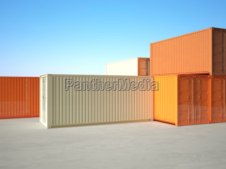 classic 3d metal container on blue