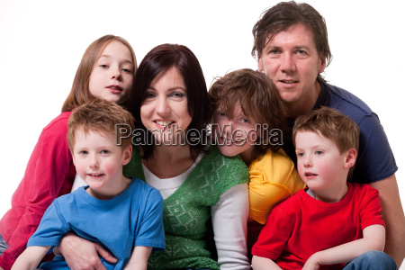 big young family in a happy