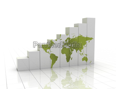 green world map on rising business