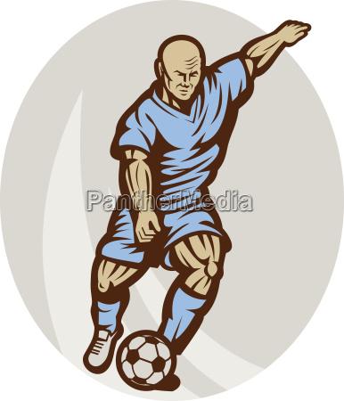 fussball spieler den ball zu treten