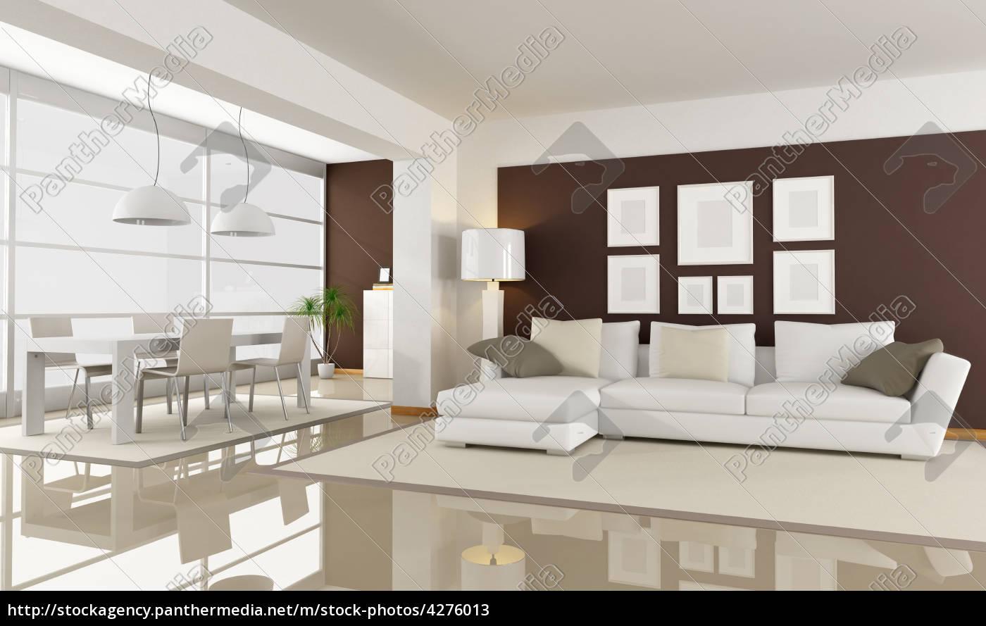 Lizenzfreies Bild 4276013   Modernes Wohnzimmer Mit Essbereich Rendering