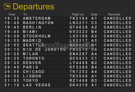 tablero de salidas del aeropuerto internacional