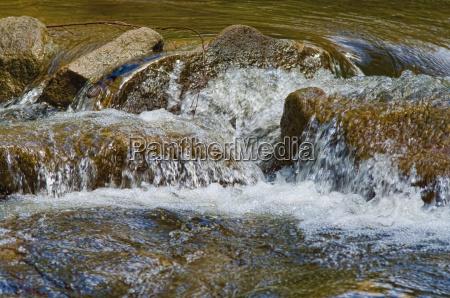 waterfalling on rocks in stream