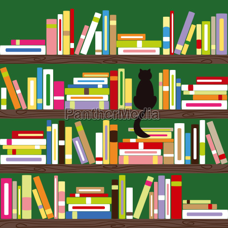 abstract cat with colorful books on