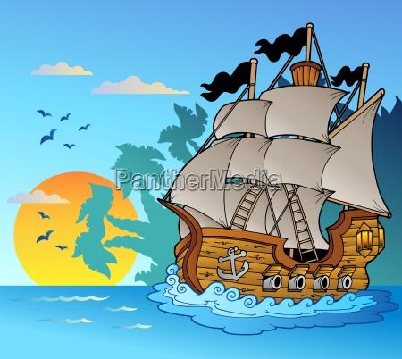 altes schiff mit inselschattenbild