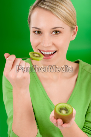 healthy lifestyle happy woman holding