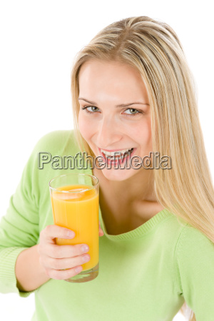 healthy lifestyle woman with orange