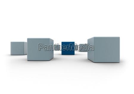 business concept blue box