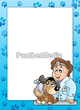 blue frame with veterinary theme