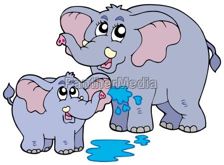 female and baby elephants