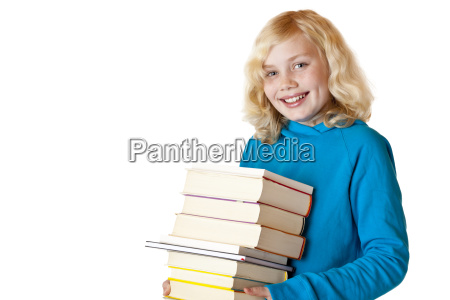 happy schoolgirl holds textbooks