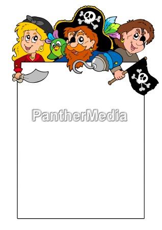 leere rahmen mit cartoon piraten