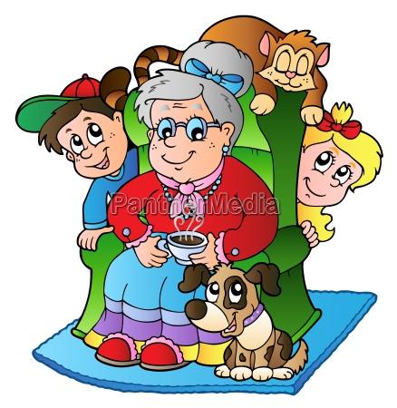 cartoon grandma with two kids