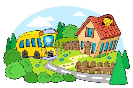 landschaft mit der schule