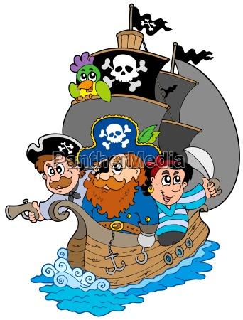 schiff mit verschiedenen cartoon piraten
