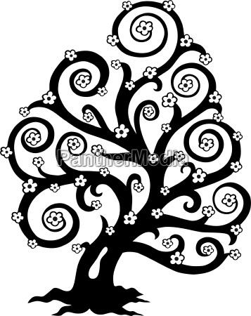 stylized tree in bloom silhouette