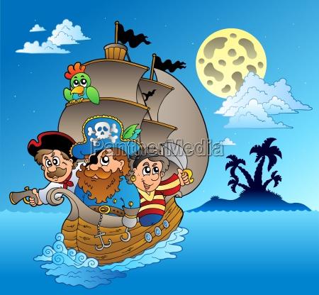 drei piraten und insel silhouette