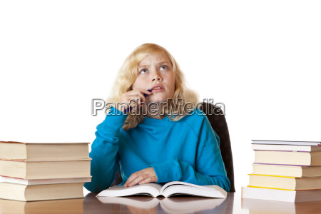 schoolgirl thinking about problem after