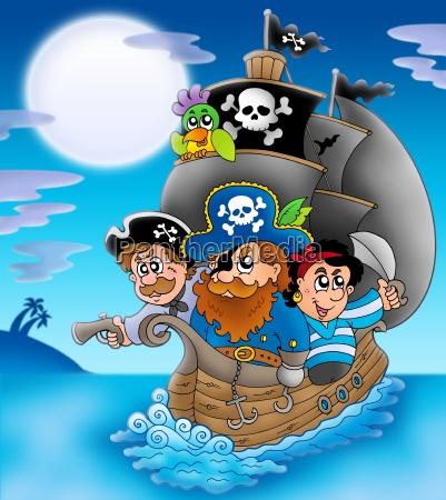segelboot mit cartoon piraten in der
