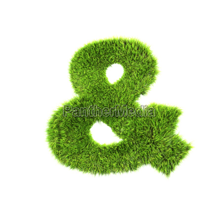 3d grass sign isolated on white
