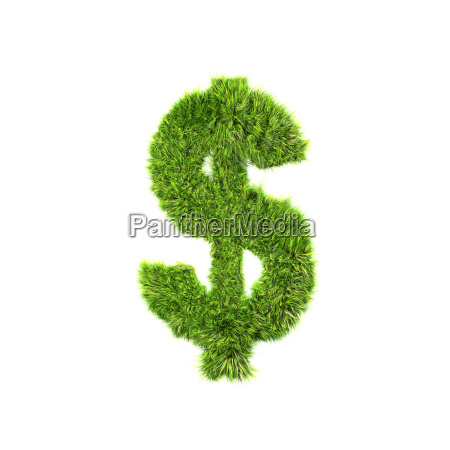 3d grass currency sign isolated on