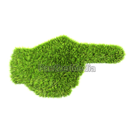 3d grass hand sign isolated on