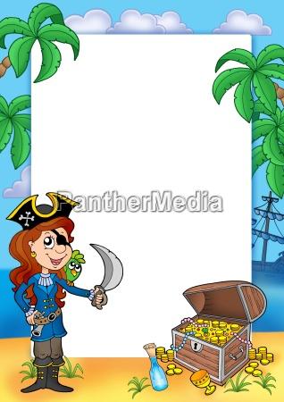 rahmen mit piratenmaedchen und schatz 2