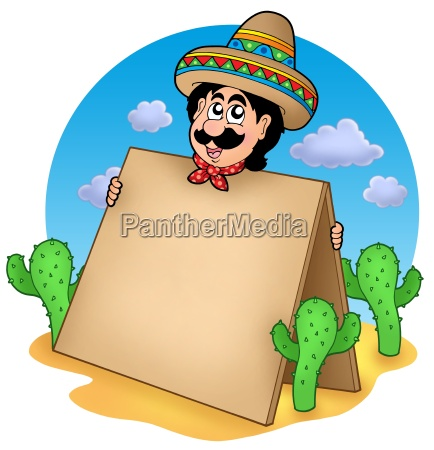 mexican man with table in desert