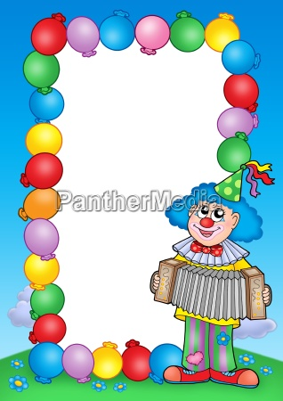 party invitation frame with clown 6