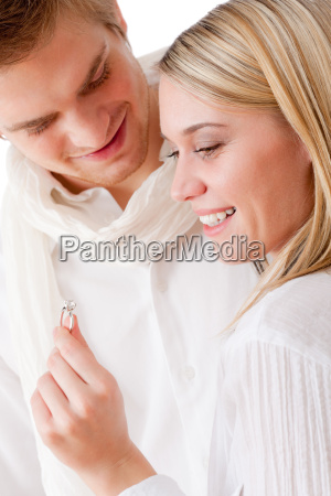 couple in love getting engagement