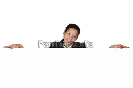 young happy woman leans on blank