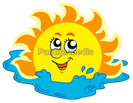 cartoon sun bathing in sea