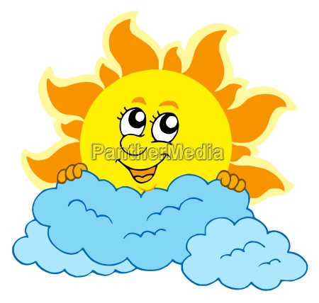cute cartoon sun with clouds
