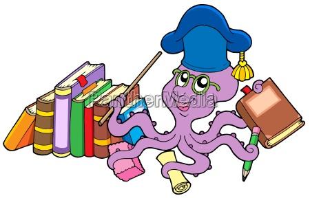 octopus teacher with books
