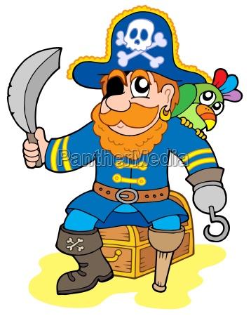 pirate sitting on treasure chest
